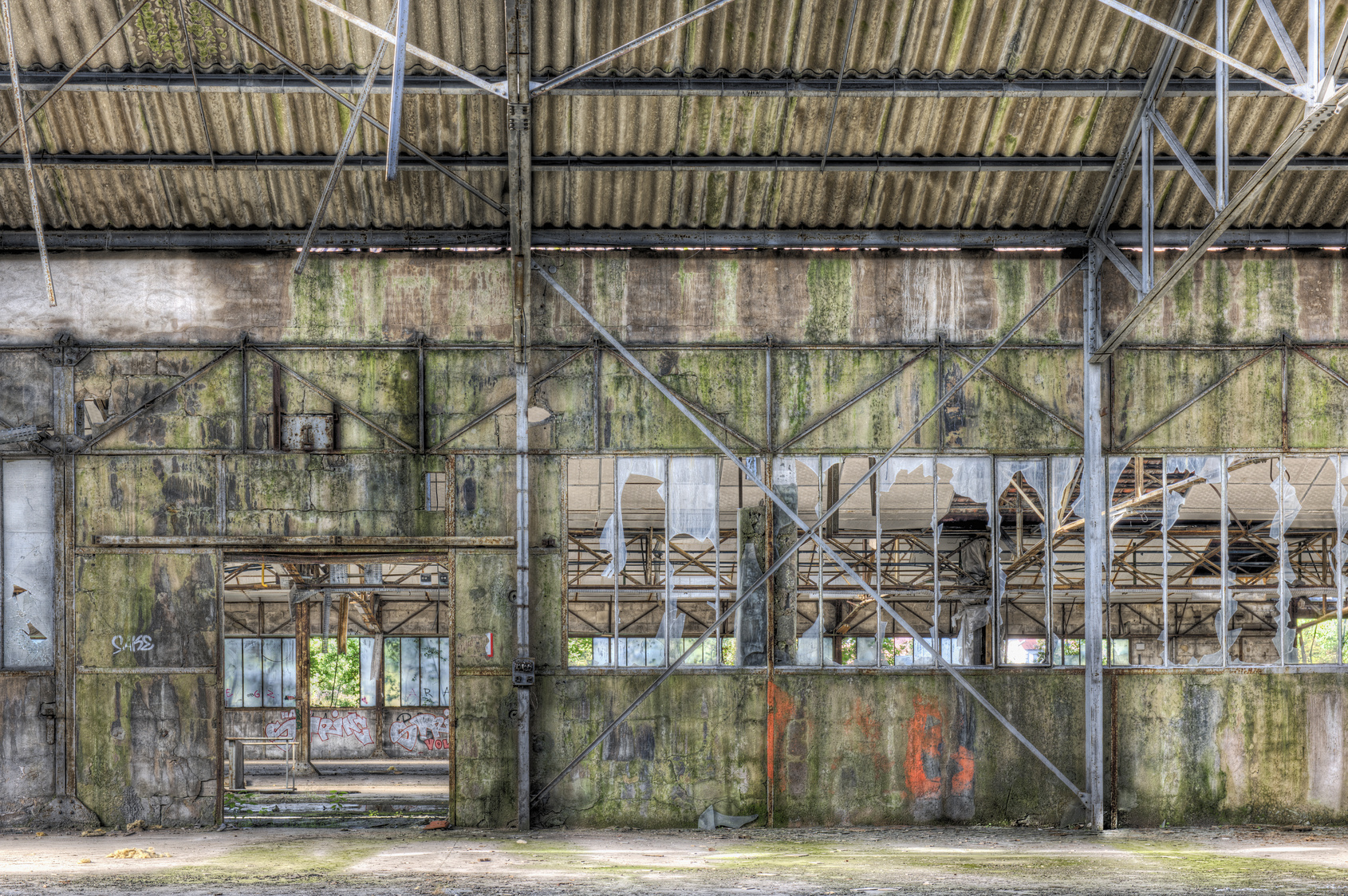 Derelict interior of dilapidated warehouse